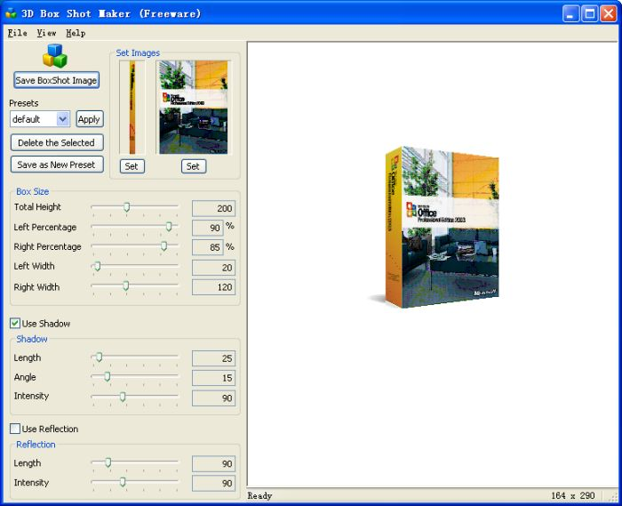 Click to view 3D Box Shot Maker 1.0 screenshot